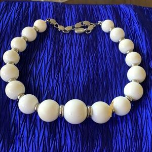 "Georgiou White 18"" Bead Choker with Silver Spacers"